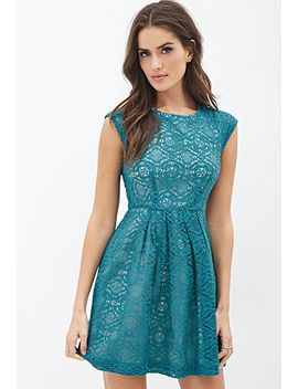 pleated-lace-fit-&-flare-dress by forever-21