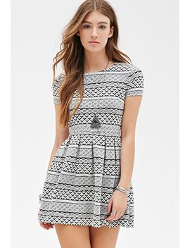 geo-striped-skater-dress by forever-21