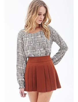 pleated-crepe-woven-skirt by forever-21
