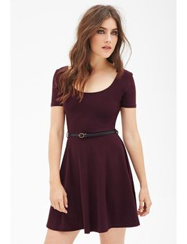 belted-skater-dress by forever-21