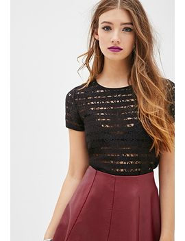 shadow-stripe-lace-top by forever-21