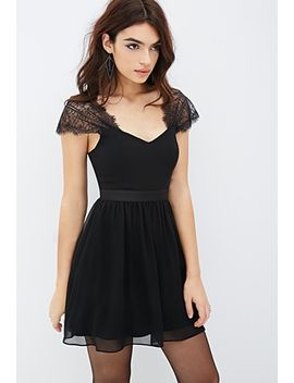 lace-sleeve-chiffon-dress by forever-21