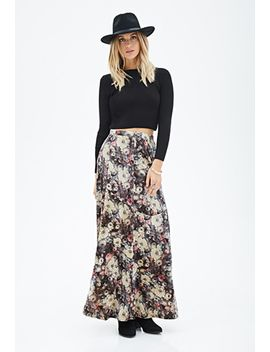 floral-velveteen-maxi-skirt by forever-21