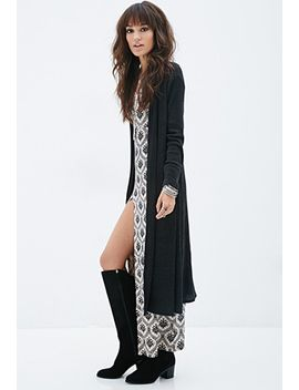 longline-waffle-knit-cardigan by forever-21