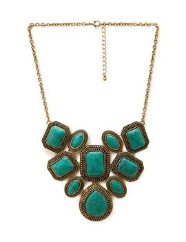 faux-turquoise-statement-necklace by forever-21
