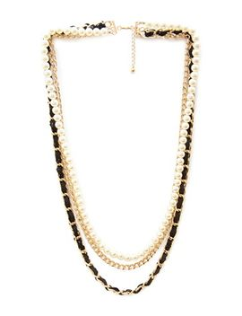woven-faux-pearl-&-chain-necklace by forever-21