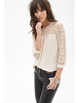 semi-sheer-lace-paneled-top by forever-21