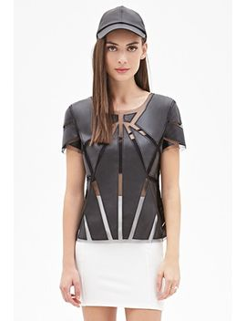 faux-leather-paneled-top by forever-21