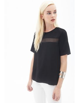 sheer-paneled-woven-top by forever-21
