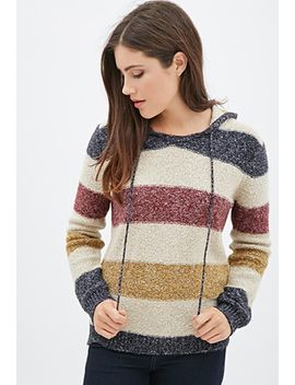 textured-knit-striped-hoodie by forever-21