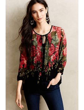 pleated-peonies-blouse by anthropologie