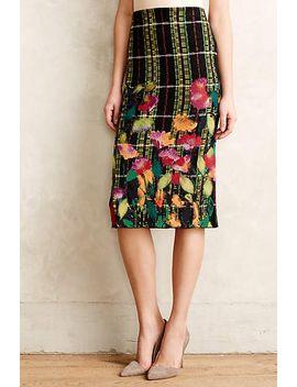 blossom-checked-pencil-skirt by troubador