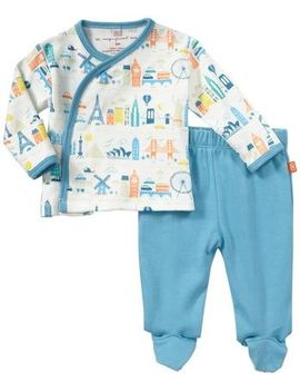 Magnificent Baby World Cities Kimono Pant Set (Baby)   Blue Newborn by Magnificent Baby