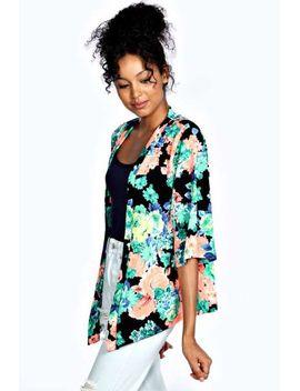 sondra-large-neon-floral-crepe-kimono by boohoo