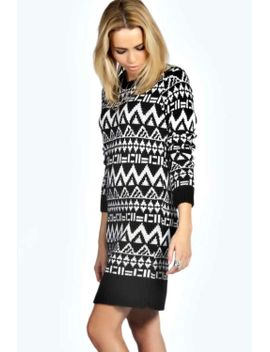 royah-soft-laguna-knit-aztec-jumper-dress by boohoo
