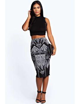emily-raised-print-midi-skirt by boohoo