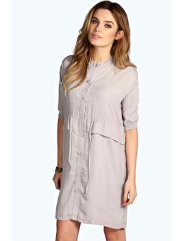 lella-rib-trim-button-through-drawstring-dress by boohoo