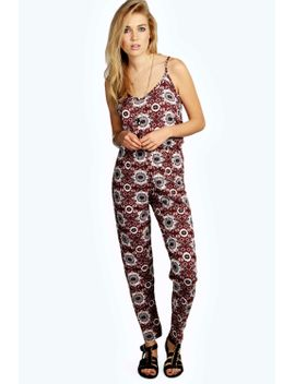 theressa-tile-print-strappy-jumpsuit by boohoo