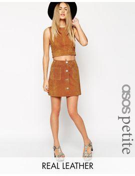 asos-petite-button-through-a-line-suede-skirt by asos-collection