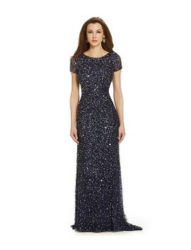 adrianna-papell-short-sleeve-sequined-long-skirt-gown by adrianna-papell