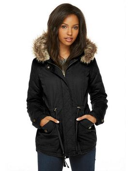 Twill Sherpa Military Hood by Delia's