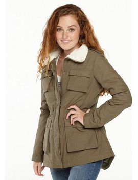 Madden Girl Twill Sherpa Collar Coat by Delia's