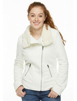 Fleece Sherpa Moto Jacket by Delia's