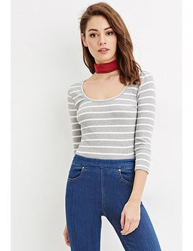 striped-scoop-neck-top by forever-21
