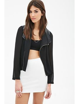 faux-leather-&-chiffon-moto-jacket by forever-21