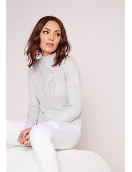 high-neck-ribbed-sweater-grey-marl by missguided