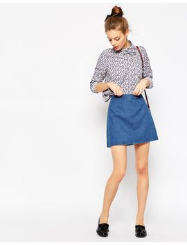 asos-denim-a-line-mini-skirt-in-midwash-blue by asos-collection