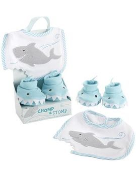Baby Aspen Bib And Booties Gift Set   Chomp & Stomp   Shark by Baby Aspen