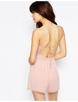 asos-90s-strappy-playsuit-with-tie-back-and-pom-pom-hem by asos-collection