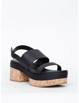 "Studio Leather Sandal Platform by ""Intentionally           ."""