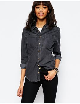 asos-denim-shirt-in-washed-black by asos-collection