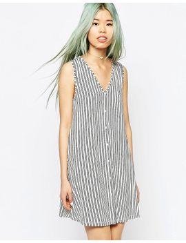 asos-sleeveless-button-through-swing-dress-in-stripe-print by asos-collection