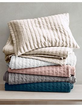 Superb Eileen Fisher Rippled Organic Cotton Coverlet And Shams By