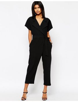 asos-wrap-front-jumpsuit-with-tie-waist by asos-collection