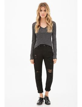 heathered-ribbed-knit-top by forever-21