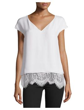 Marilena Cap Sleeve Lace Hem Top, Ivory by Parker