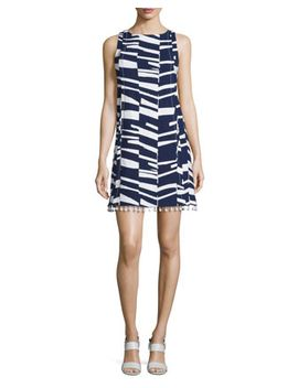 Sleeveless Modern Print Shift Dress W/Beaded Tassels by Trina Turk