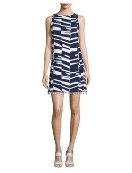 Sleeveless Modern Print Shift Dress W/Beaded Tassels by Trina Turk