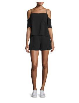 Crepe Cold Shoulder Top & Flutter Shorts, Black by T By Alexander Wang