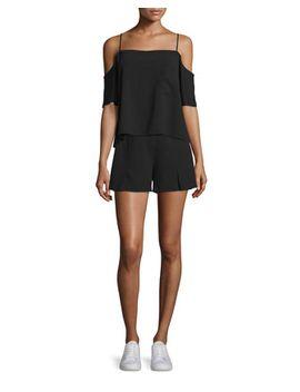 crepe-cold-shoulder-top-&-flutter-shorts,-black by t-by-alexander-wang