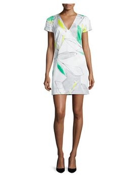 chloe-short-sleeve-floral-print-dress,-green_multi by milly