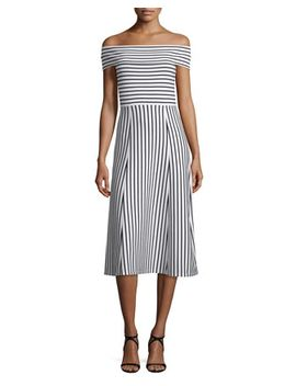 Striped Off The Shoulder Midi Dress, Soft White by Derek Lam 10 Crosby
