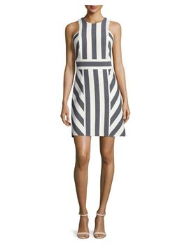 Graphic Striped Sleeveless Dress, Navy by Milly