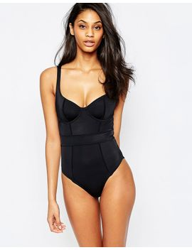 asos-fuller-bust-exclusive-underwired-paneled-swimsuit-dd-g by asos-collection