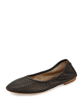 Whittaker Perforated Leather Ballerina Flat, Black by Tory Burch