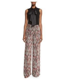 Glynda Tie Neck Fitted Sleeveless Top & Athena Super Flare Wide Leg Pants by Alice + Olivia
